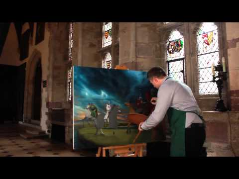 Encounter at Lake Eydis - Artist at work on a painting depicting a mediaeval scene