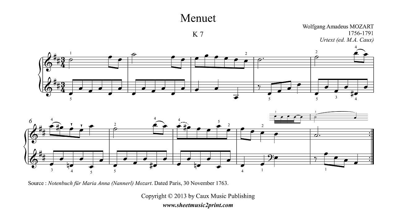 Mozart : Menuet in D Major, K 7 - YouTube