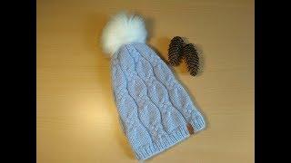 Женская шапка с аранами спицами. Мастер-класс.