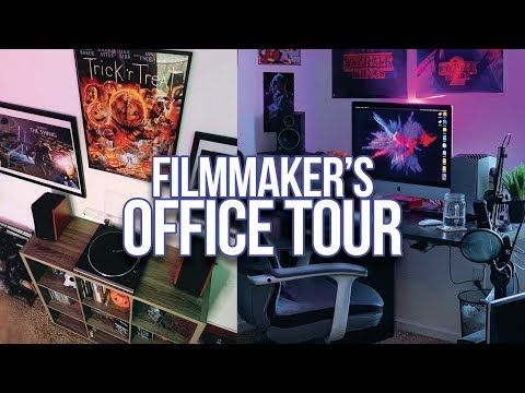 Filmmaker's Home Office + Desk Setup Tour Late 2019 | IMAC, GH5, BLACKMAGIC DESIGN, VINYL + MORE!