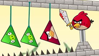 Angry Birds Piggies Out - DROP TRIANGLE PIGS TO SPIKES BY CUTTING ROPE!