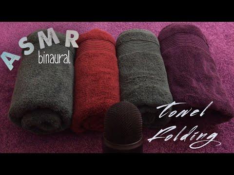 ASMR TOWEL FOLDING |👂🏻b i n a u r a l 👂🏾