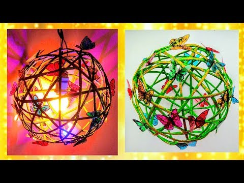 How to make butterfly Lampshade from Newspaper | Diwali/Christmas home decor