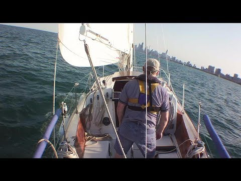 """Sailing """"Thanks Dad"""" - Solo Lake Michigan sail to Chicago for the Air & Water Show - Part 1"""