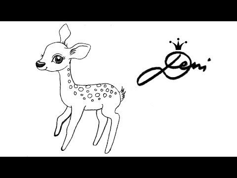 Reh 🦌 Rehkitz zeichnen lernen für Kinder 🦌 how to draw a fawn cute baby deer сърничка