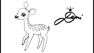 Baixar Reh 🦌 Rehkitz zeichnen lernen für Kinder 🦌 how to draw a fawn (cute baby deer) сърничка