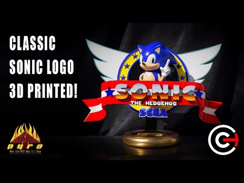 Retro Sonic The Hedgehog Logo Brought To Life Using 3d Printing Collaboration With Chaos Core Tech Youtube