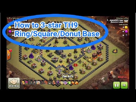 Clash of Clans- How to 3-star TH9 Ring/Square/Donut Base