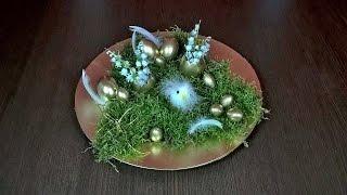 ZŁOTE JAJA NA ZŁOTYM TALERZU i śmieszny kurczak ;) Stroik świąteczny :)