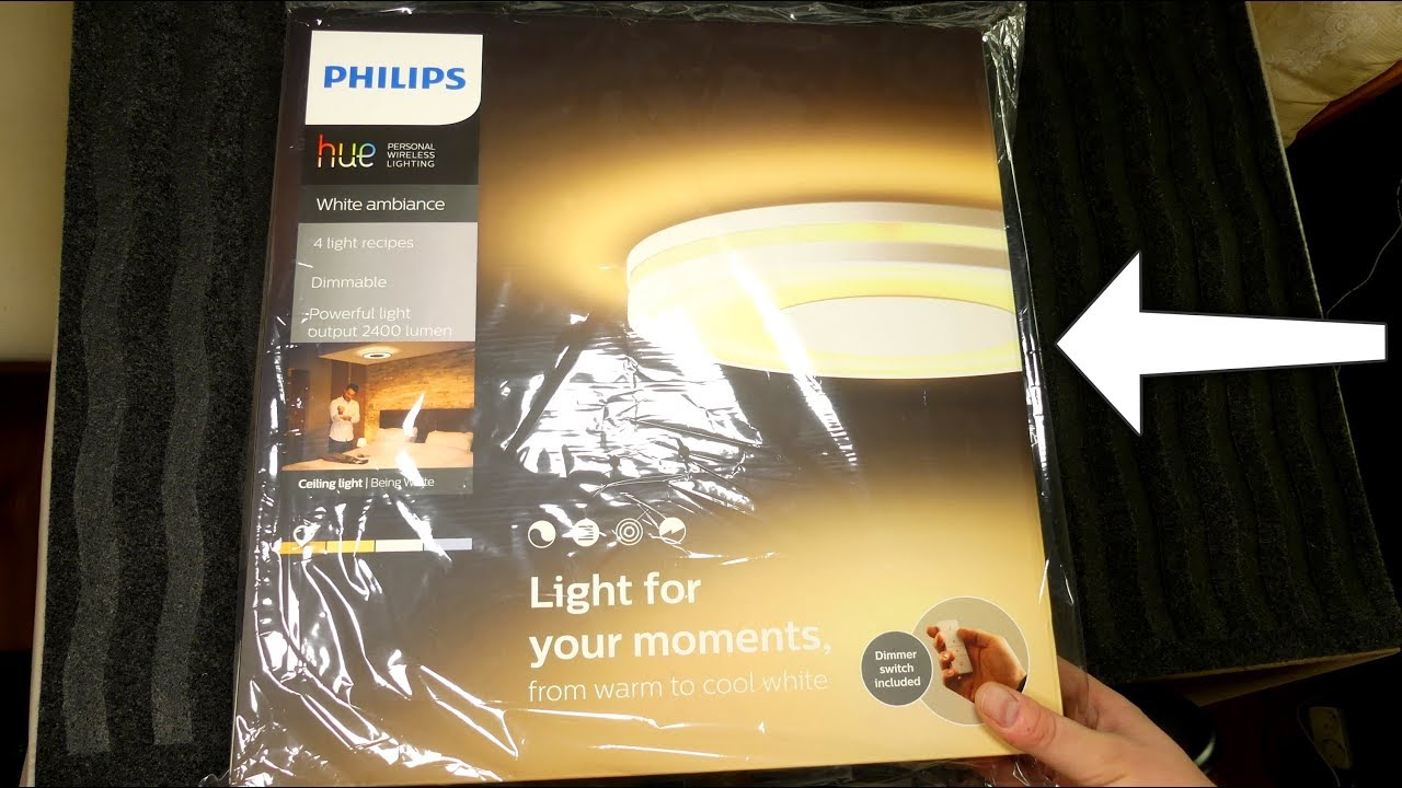 Plafoniera A Led Beign Philips Hue : Philips hue white ambiance being ceiling unboxing youtube