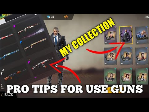 FREE FIRE | MY FREE FIRE GUN SKIN AND DRESS COLLECTION |PRO TIPS FOR SETTING AND USING GUNS