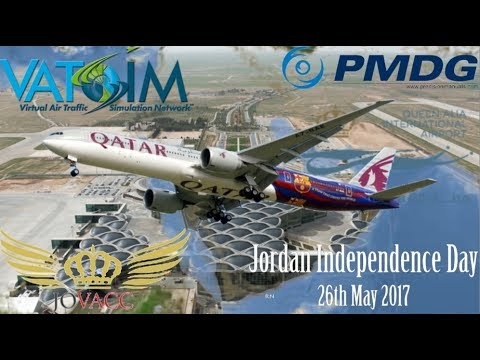 Qatar last flight through Saudi airspace, PMDG 777-300ER Doha to Amman on Vatsim (FSX)