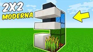 Minecraft | Como hacer casa moderna 2x2 - CASA MÁS PEQUEÑA POSIBLE