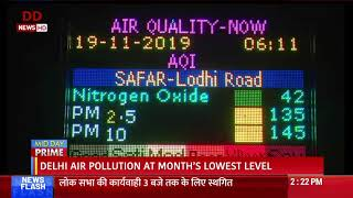 Delhi air pollution at month's lowest level