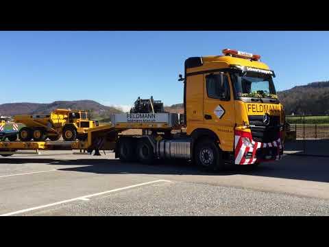 Transport Modelle Dumper Volvo A40 und Radlader Volvo L220 auf Goldhofer Tieflader
