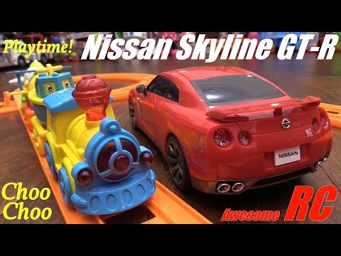 Kid's Toy Train Play Set and a Remote Control Car Unboxing and Playtime! Nissan GT-R Sportscar