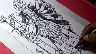 How to Draw GODDESS BHADRAKAALI MATHA Drawing