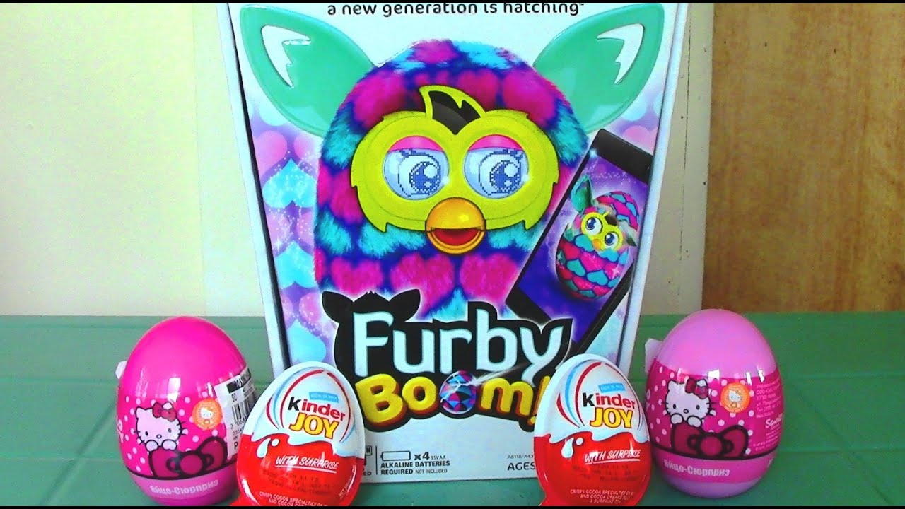 Furby boom hello kitty surprise eggs kinder joy surprise eggs furby