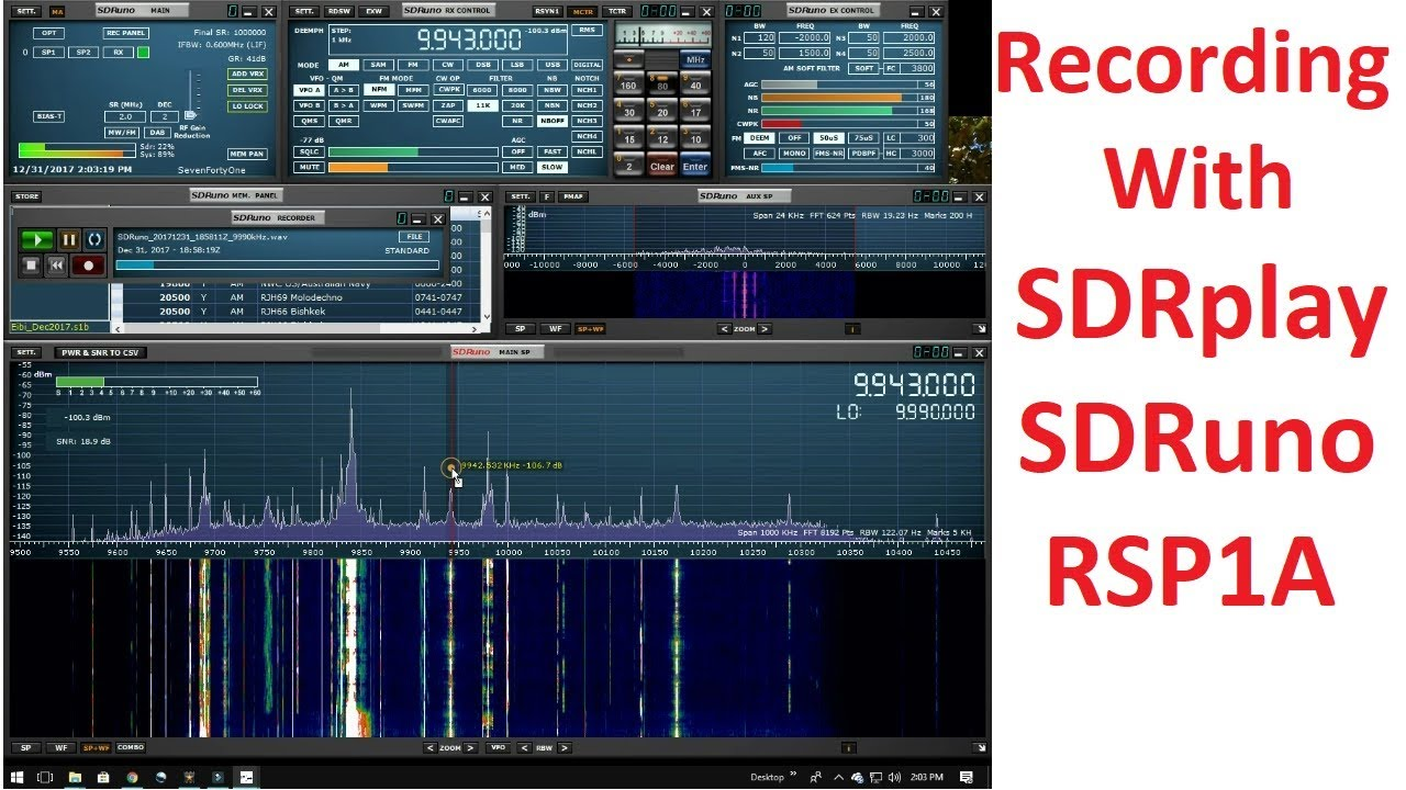 Recording With SDRplay SDRuno and the RSP1A