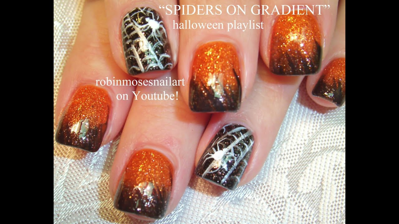 Halloween Nails! Orange and Black Ombre Tutorial with ...