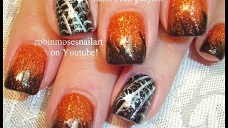 Halloween Nails! Orange And Black Ombre Tutorial With Spiderweb Nail Art Design