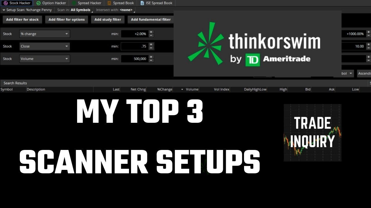 Scanning for Stocks in THINKORSWIM (Day & Swing) - YouTube