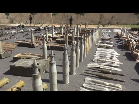 SYRIA: Trophies taken by the Syrian army from the FSA militants