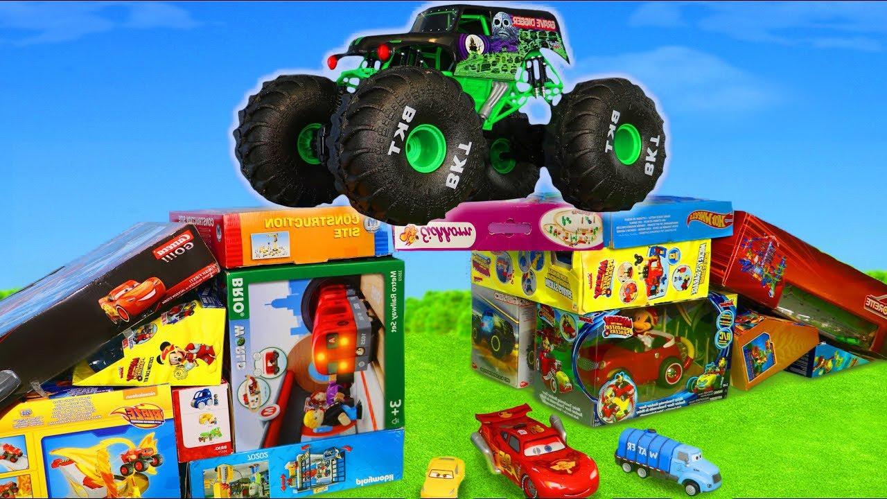 Monster Truck, Escavadora, Trator, Carrinho de bombeiros , Caminhões de lixo e carros para crianças