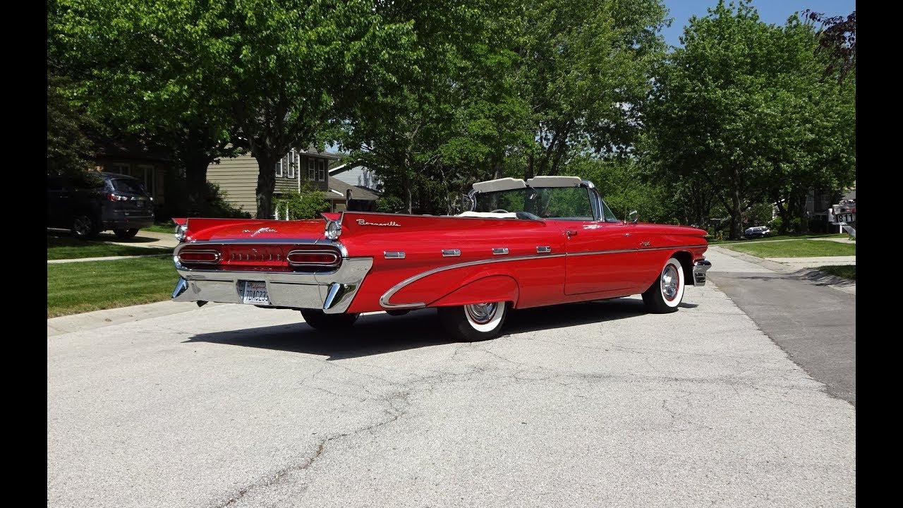 1959 pontiac bonneville convertible in red \u0026 tri power engine sound