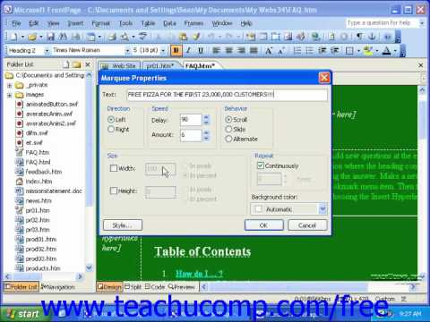 FrontPage Tutorial Inserting Marquees Microsoft Training Lesson 6.6