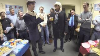 Итальянский посол с переводчиком. Поздравление с 8 марта коллег.
