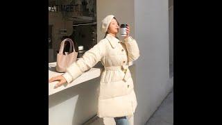 Пуховик белый пуховик на утином пуху зимний повседневный стиль женские теплые пальто и парки