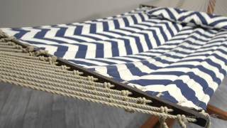 Island Bay 13 Ft. Harbor And Cream Chevron Stripe Quilted Hammock With Wood Arc Stand