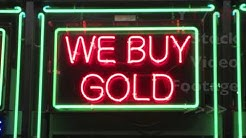 Bright Pawn Shop & We Buy Gold Neon Sign at Night at Local Store in City | HD Stock Video Footage