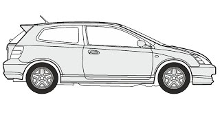 How to Draw a Honda Civic 3 / Как нарисовать Honda Civic 3