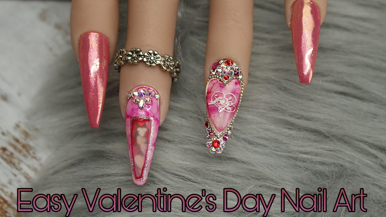 Encapsulated Hearts & Marble Gel Nails | Easy Valentine's Day Nail Art