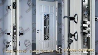 Металлическая дверь со стеклом, цвет белый. Производство завода