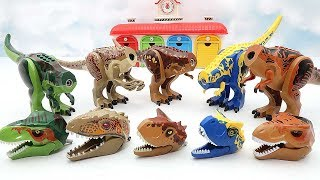 Toy Dinosaurs For Kids! Jurassic World Dinosaur Lego Toys. Wrong Heads Indominus Rex Triceratops