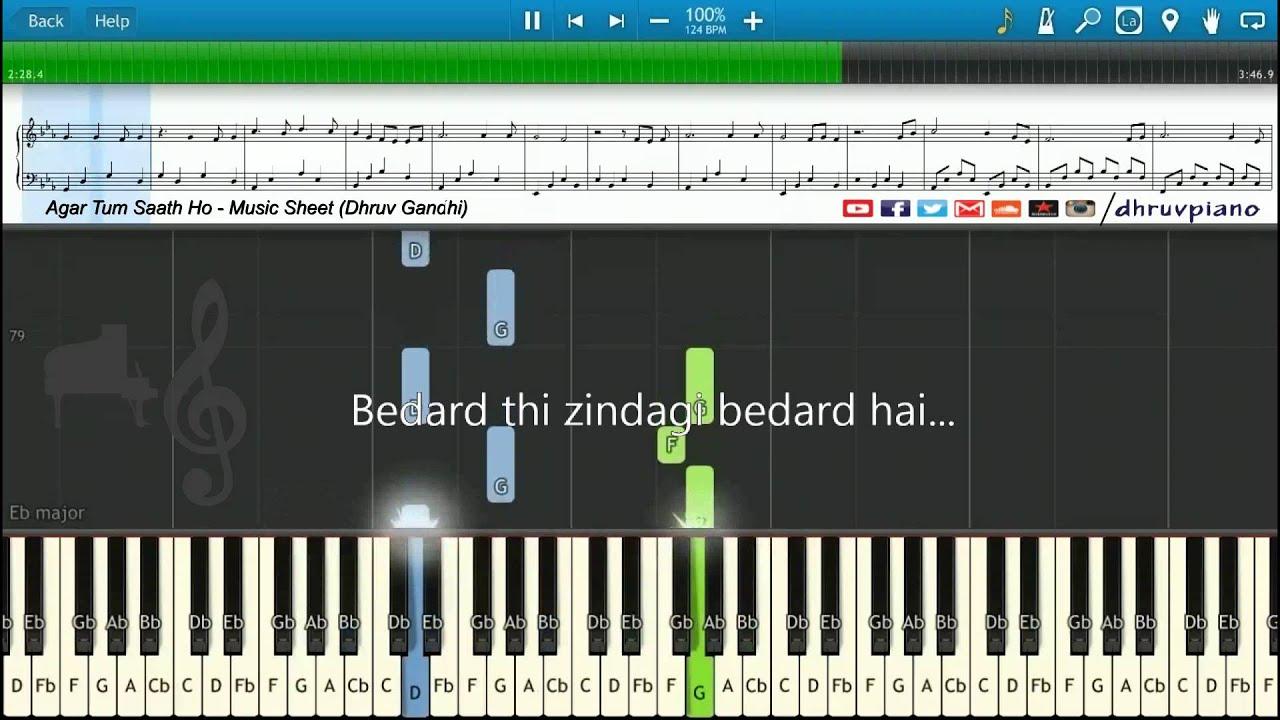 agar-tum-saath-ho-tamasha-piano-tutorial-music-sheet-midi-with-lyrics-dhruv-gandhi
