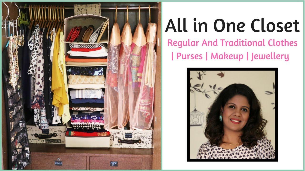 82e529c43cc71 Closet Organization - Regular clothes   Sarees   Anarkalis   Makeup    Jewelry   Purses - YouTube