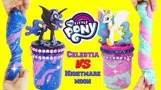 D.I.Y. MY LITTLE PONY Princess Celestia VS Nightmare Moon Slime Challenge