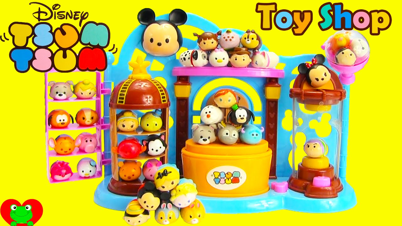 Disney Tsum Tsum Toy Shop Playset And Squishy 4 Packs Youtube
