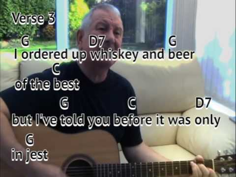 The Wild Rover - The Dubliners - cover - easy chords guitar lesson with on-screen chords and lyrics