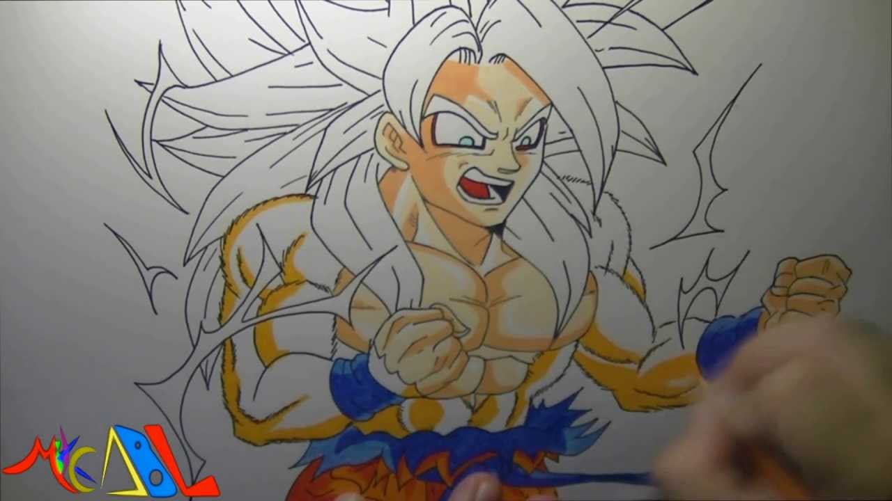 Dibujando a Goku modo Dios No oficial  YouTube