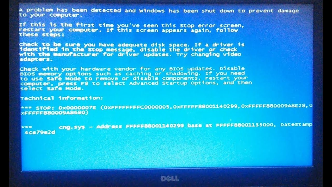 How to fix Windows 7 BSOD Stop error CNG SYS [0x0000007E]