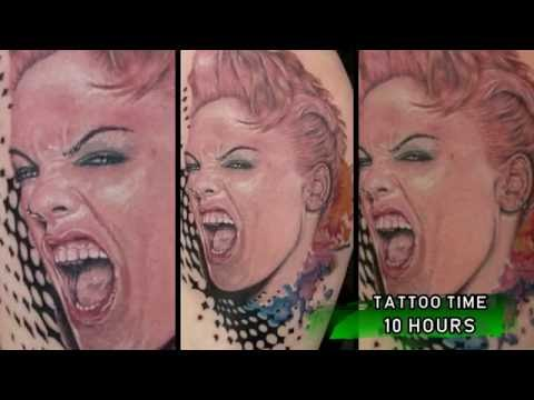 Time lapse tattoo color portrait of  Pink the singer - Robert tattoo art