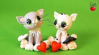 WHITE CAT ♡ KOT- polymer clay tutorial - Valentine's Special