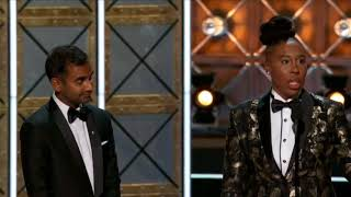 EMMYS 2017-LENA WAITHE AZIZ ANSARI EMMY WIN -OUTSTANDING WRITING FOR A COMEDY SERIES-MASTER OF NONE