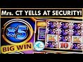 THE RETURN of Mrs. CT's STALKER SECURITY GUARD! BIG WIN ON BUFFALO WONDER 4 TOWER SLOT MACHINE!