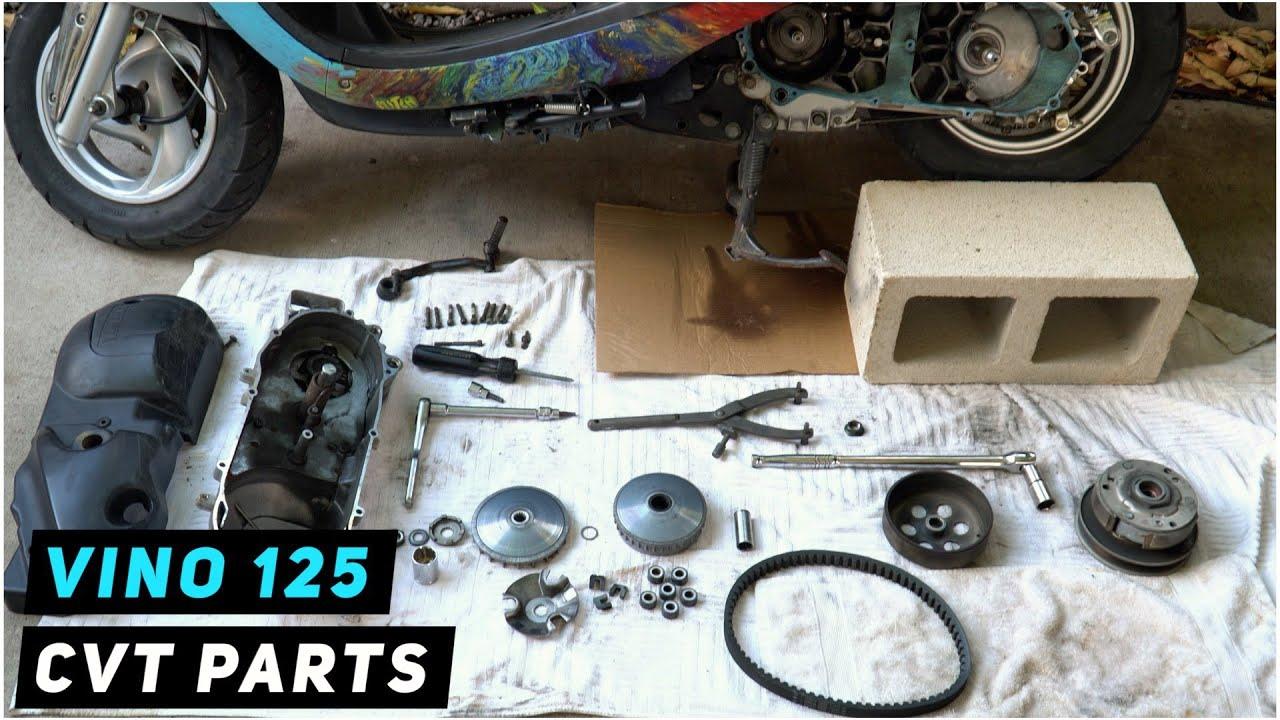 Yamaha Vino 125 - CVT Parts Inspection (belt, rollers, clutch, variator) | Mitch's Scooter Stuff